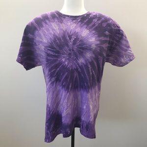 Purple Mauve Lavender White Tie Dye Large T Shirt